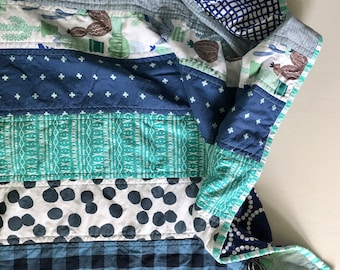 Patchwork Stripe Quilt - shades of aqua and navy blue