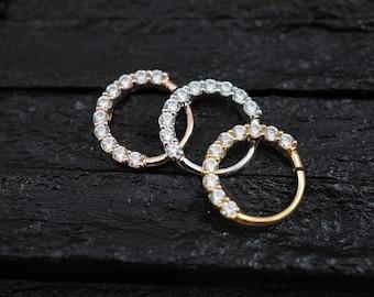 CZ diamond horizontal eternity hoop Daith earring / Cartilage / Septum ring / Nose ring