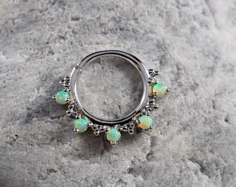 Five stone Lime green Opal with cluster trinity ball hoop Daith earring / Cartilage / Septum ring / Nose ring