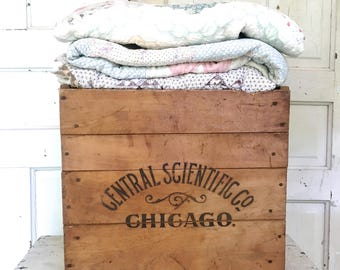 Vintage Wood Crate Box Chicago Science Company