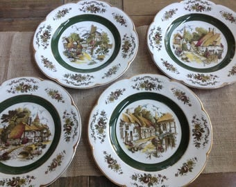 set of 4 ascot village service plates by wood and sons england decorative wall plate english - Decorative Wall Plates