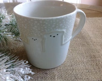 Adorable Discontinued Starbucks Polar Bear  Embossed Snowfall Mug for Winter Days only 25 dollars total WITH shipping