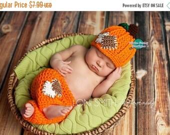 SUMMER SALE Instant Download PDF Crochet Pattern - No. 43 Baby Pumpkin Patch Hat & Pants Set - 3 Sizes