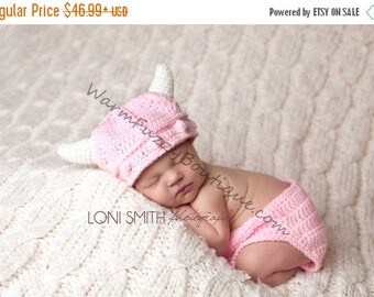 SUMMER SALE Lael Viking Hat & Diaper Cover - Crochet Newborn Baby Beanie Boy Girl Costume Winter Christmas  Photo Prop Cap Outfit