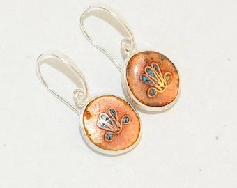Round Cloisonne Enamel Earrings