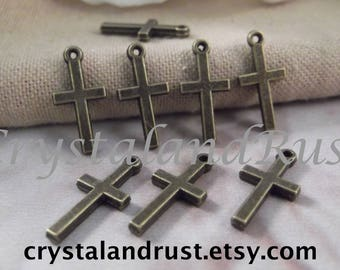 8pc. Small Cross Charms --- Antique Bronze Color --- CHM - 146