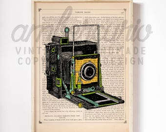 Polaroid Vintage Multicolored Land Camera Photography Lover Illustrated Print on an Unframed Upcycled Bookpage