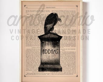 The Addams Family Inspired Muerto Vulture Graveyard Headstone Print on an Unframed Upcycled Bookpage