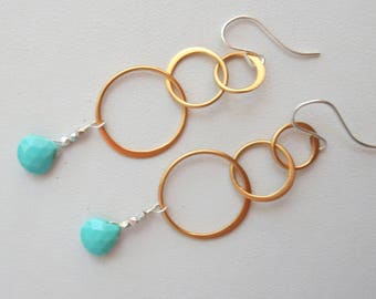 AA Arizona Turquoise Gold  and Sterling Silver 3 Hoop Earrings