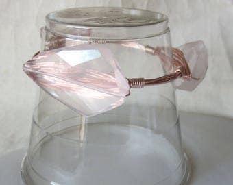 "Premium Quality Rose Quartz Slab Bangle Bracelet ""Bourbon and Bowties"" Inspired"