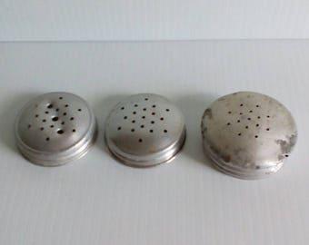 3  Vintage Aluminum McKee Range Shaker Lids