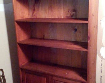 Vintage Wooden Pine Cabinet Bookcase Display