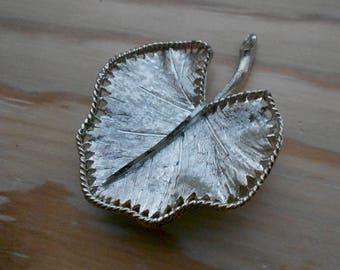 Vintage silver BSK leaf brooch.  Signed.