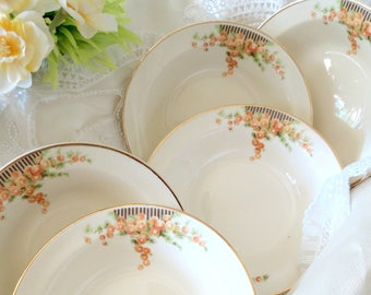 5 Vintage Fruit Bowls, Sauce or Dessert Bowls by Taylor Smith & Taylor, Orange Snowball Flowers, Circa 1942 Discontinued, Replacement China