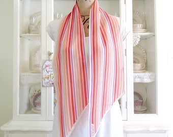 Vintage Avon Summer Scarf, Head or Neck Scarf, Pink Coral Red and  Lavender Stripes, Made in Japan, Polyester Fashion Scarf, 53 in x 7 in