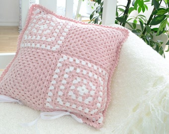 Powder pink crochet cushion cover,  granny pillow case , dusty pink, handmade in Sweden