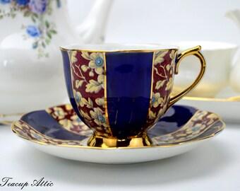 RARE Royal Albert Royal Brocade Navy Blue and Floral Chintz Panel Teacup And Saucer Set, English Bone China Teacup, ca. 1927-1935