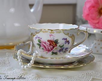 Coalport Grey Embossed Rosemary Vintage Teacup and Saucer Trio, Wedding Gift, English Bone China Tea Cup, Replacement China, ca. 1926