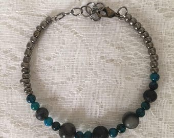 Black Network Beaded Memory Wire Bracelet