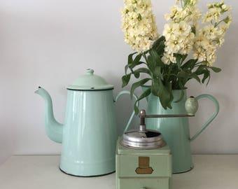 Vintage French Coffee Pot  - Antique Enamelware  - Rustic French Decor - Gooseneck Enamel Coffee Pot - Pretty Mint Green Coffee Pot