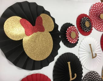 Minnie Mouse Inspired Backdrop | Minnie Mouse Paper Fans | Red and Gold Paper Rosettes | Minnie Mouse 1st Birthday | Minnie Mouse Backdrop