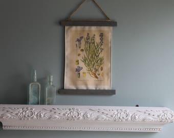 Lavender Botanical wall art, Hanging frame canvas floral print