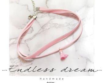 Baby Pink Velvet tassels Choker Necklace,double layer ,Jewelry Fashion Accessories lolita cute cutie