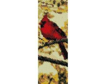 Cardinal 2 Bird Peyote Bead Pattern, Bracelet Cuff, Bookmark, Seed Beading Pattern Miyuki Delica Size 11 Beads - PDF Instant Download