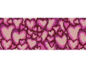 Hearts #4 Peyote Bead Pattern, Bracelet Cuff, Bookmark, Seed Beading Pattern Miyuki Delica Size 11 Beads - PDF Instant Download