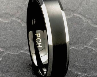Tungsten Mens Wedding Band Black Brushed Finish 6mm Comfort Fit Beveled Edge Size 8 to 15