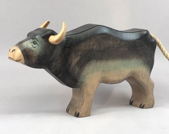 Toy Bull Buffalo Taurus wooden dark grey brown colourful  Size: 17,0 x 10,0 x 3,0 cm (bxhxs)  approx. 129 gr.