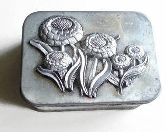 Pewter and Tin Box Zinnia Flowers 1977 Signed Metzke