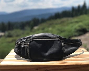 Black Leather fanny pack/ hip belt / utility belt