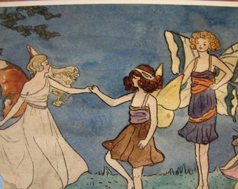 1919 Victorian fairies,small watercolour painting, signed Sheila Pyhillis Warren, April 1919, Gallery framed