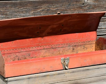Old Rusty Red Metal Toolbox