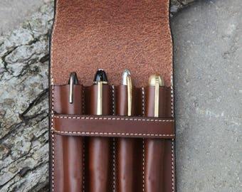 Vegetable Tan Leather Quadruple Pen Case Sienna