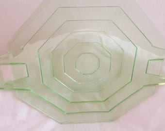 US Glass Green Depression Glass Tiered Octagon Handled Tray