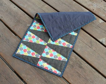 Table Runner, Table topper, quilted table runner, dresser scarf, pastel, geometric, triangle, brightly colored runner