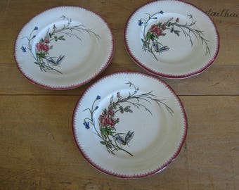 Sarreguemines papillon footed plates, antique French faience display plates butterfly pattern, 3 available