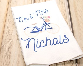 "Mr and Mrs Bicycle Towel, Kitchen Towel 16""x24"""