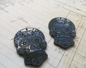 Sugar Skull Pendant charms Lasercut Acrylic Sugarskull gothic goth punk day of the dead 2 pieces with 1 hole at the top