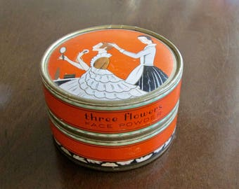 Three Flowers Face Powder Cardboard Box Richard Hudnut New York-Paris 1920s