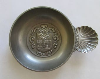 Col Nem Wine Tasting Cup Pewter Nîmes Coat of Arms Made in France Etain d'Art