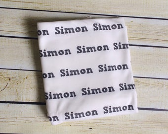 Organic Personalized Sketched Name  Swaddle Blanket. Newborn, Baby Photo Prop, Baby Shower Gift, Swaddling Blanket