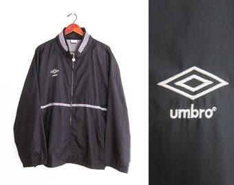 vintage windbreaker / Umbro windbreaker / 90s sportswear / 1990s black Umbro oversize windbreaker hooide XL