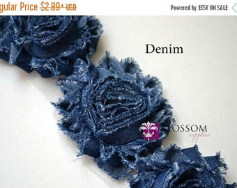 ON SALE 1/2 or 1 YARD Increment  - Dark Blue Denim - Shabby Rose Trim - Blue Denim Flowers - Frayed Flower - Blue Jean Roses Frayed Supplies