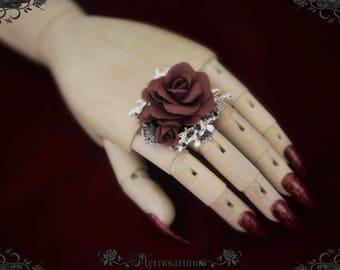 Rosarium Ring - Dark Wine Red on Silver - M1617