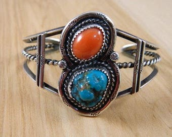 Vintage Sterling Silver Large Turquoise and Coral Indian Bracelet / Native American Blue Turquoise and Red Coral Cuff / Heavy Cuff Bracelet