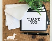 DOLLAR DEAL! Thank You. Note Cards (Set of 5) -- (Vintage-Style, Classic, Simple, Baby Shower Card, Modern, Black and White, Bridal Shower)