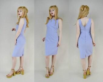 90s Cornflower Blue High Neck Fitted Summer Midi Dress S
